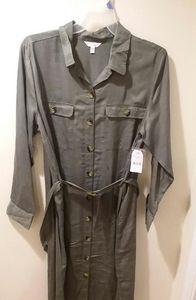 XXL Green Khaki Utility Shirt Dress